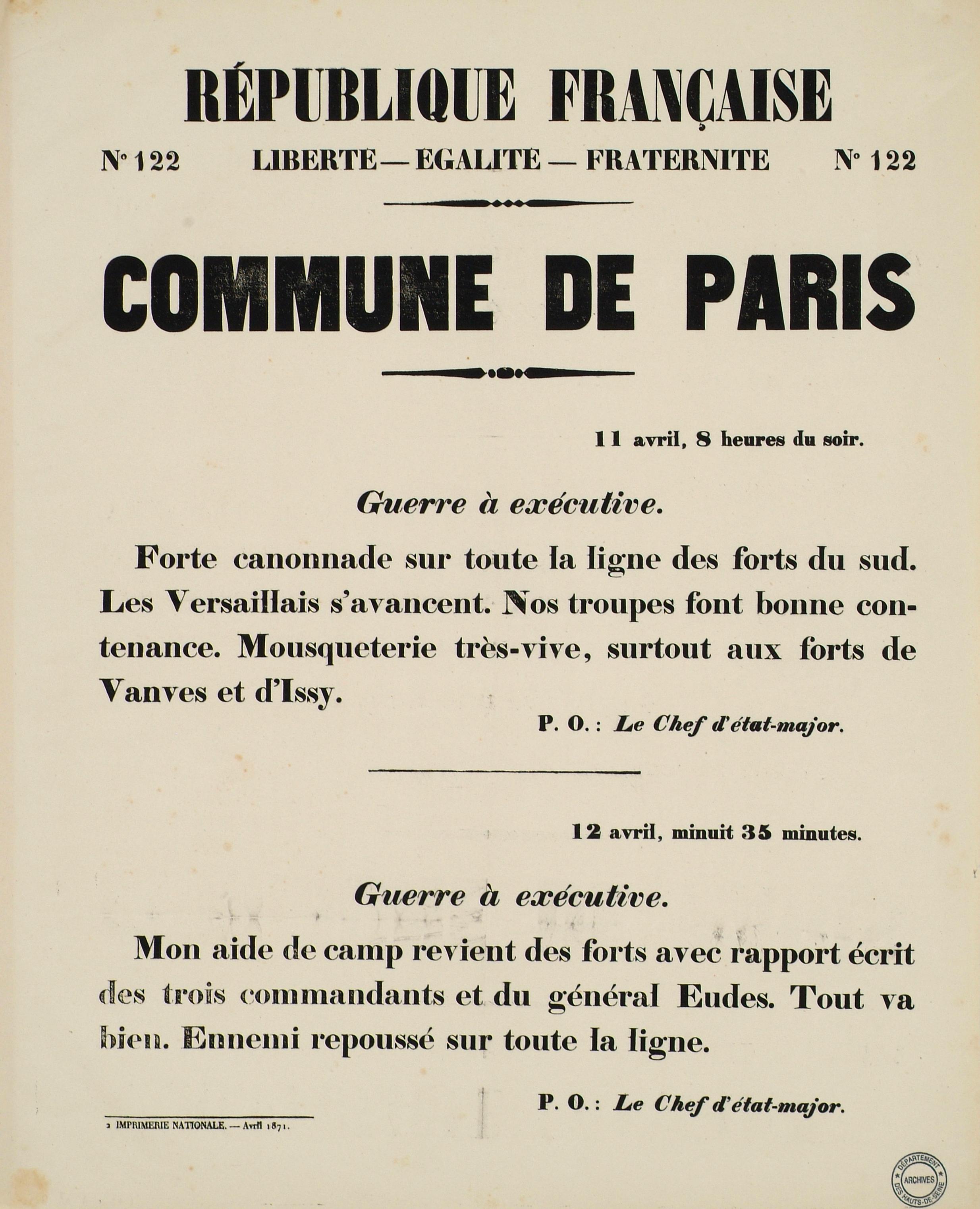 AFFICHE. COMMUNE DE PARIS n°122.