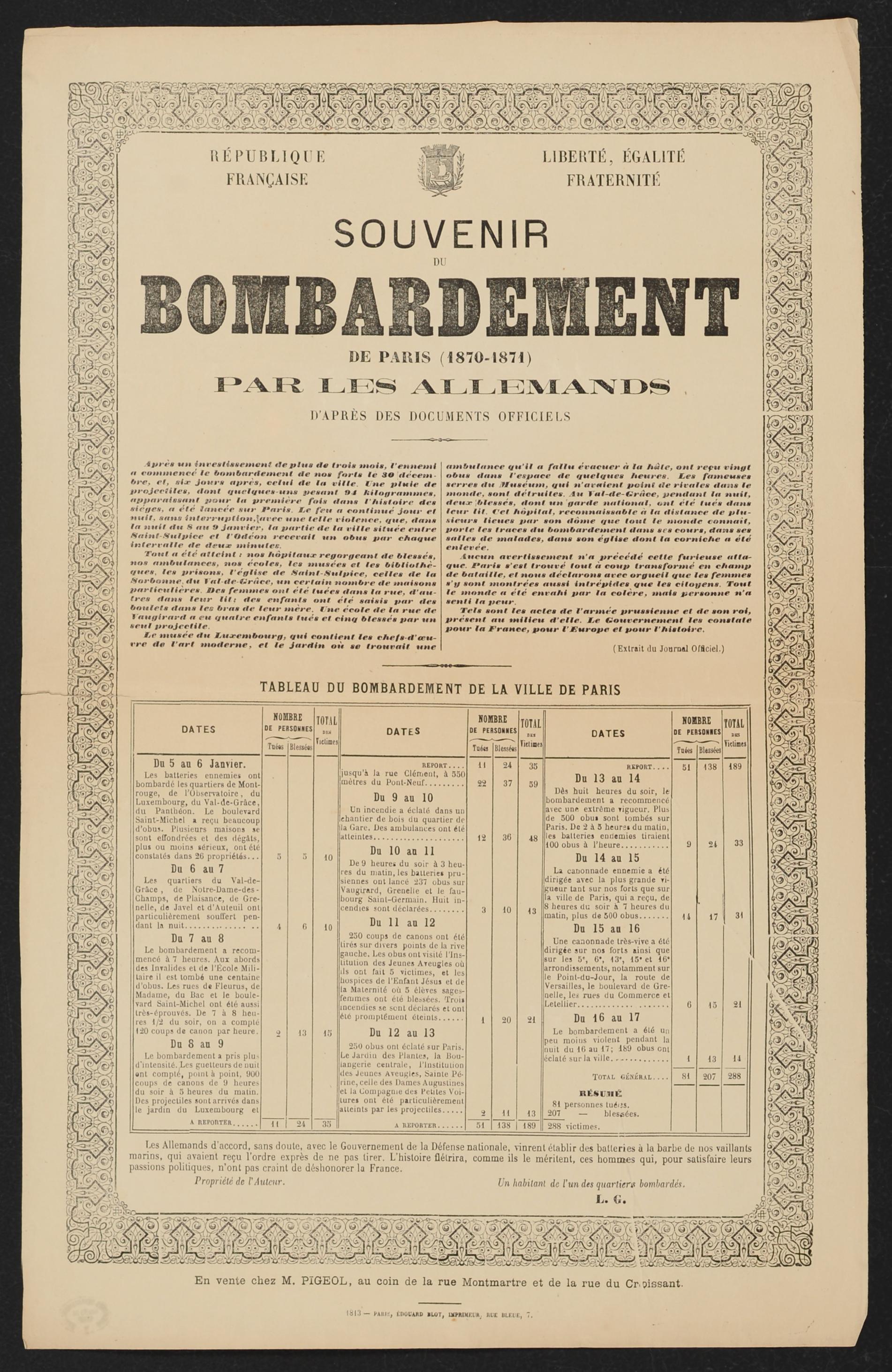 AFFICHE. BOMBARDEMENT PARIS 1870-1871