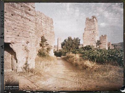 Ruines d'El Jem. Les ruines de l'enceinte de la ville de Mansoura