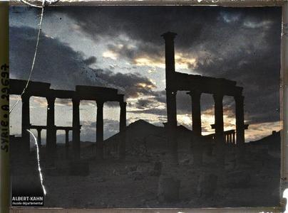 Syrie, Palmyre, Vue sur les rues à double Colonnade. Vestiges de colonnes le soir