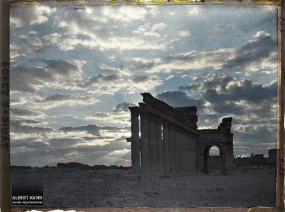 Syrie, Palmyre, Vue sur le portique Central au jour naissant.Le début de la grande colonnade et l'arc monumental