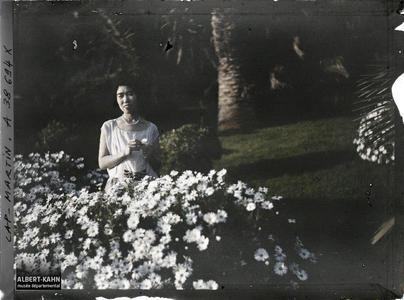 France, Cap Martin, Princesse Kitashirakawa près d'un massif d'Anthémises. La princesse Kitashirakawa, invitée par Albert Kahn, dans le jardin de sa villa, près d'un massif d'anthémis