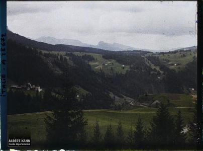 Tyrol, Wolkenstein, Une vue vers la Seisseralpe.Vue vers le Seisseralpe depuis les hauteurs de Wolkenstein (vers Santa Cristina)