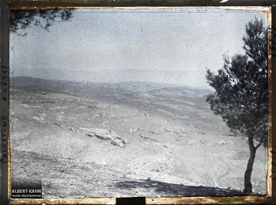 Syrie, Jérusalem, Vue prise du Mt Scopus vers la mer Morte. Panorama depuis le Mont Scopus