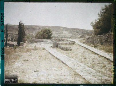 Crête, Cnossos, Le Théâtre et la Chaussée Minoenne.La voie royale qui mène au théâtre et au palais