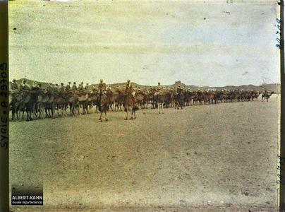 Syrie, Palmyre, Une Compagnie de Bédouins Méharis. Une compagnie de bédouins Méharis