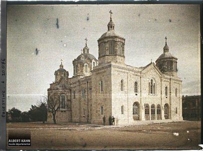 Syrie, Jérusalem, Eglise de l'Etablissement Russe (façade). Façade d'une église orthodoxe