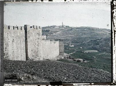 Syrie, Jérusalem, Enceinte Sud et Montagne des Oliviers. Remparts sud de la vieille ville