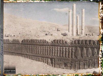 Perse, Persépolis, Salle de Xerxès - Escalier - Perses de la garde du Corps.Escalier nord de l'Apadana, procession de gardes perses et mèdes
