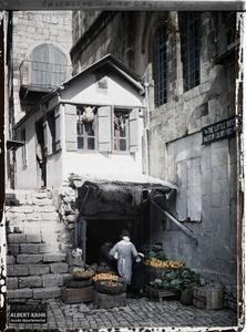 Syrie, Jérusalem, Charcuterie de l'Américan Colony. Une boucherie et un maraîcher dans le quartier de la colonie américaine