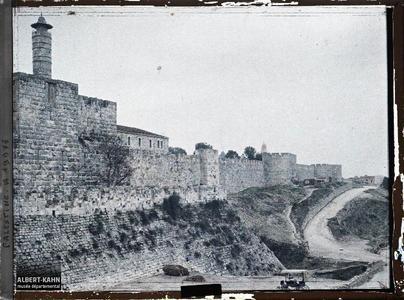 Syrie, Jérusalem, Mur d'enceinte sud-ouest. Vue de la Tour de David depuis l'extérieur des remparts de la vieille ville