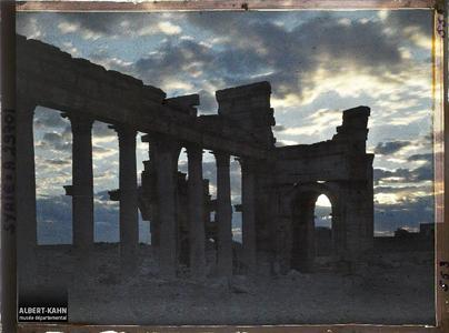 Syrie, Palmyre, Portique de la rue Centrale au jour naissant. Le début de la Grande colonnade et l'arc monumental au lever du jour