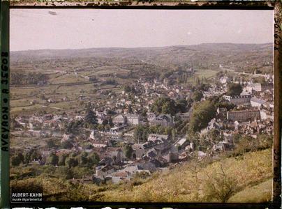 France, Villefranche de Rouergue (Aveyron), Coté Sud Ouest, vue prise de la route de Rieupeyroux