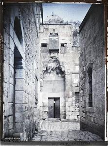 Syrie, Jérusalem, Ancienne Porte de mosquée, Bab es-Sil-Sélé. Porte de la madrasa Al-Kilaniyya prise depuis la ruelle Aqabat Abu Madyan qui débouche sur la rue Tariq Bab Al-Silsila